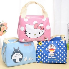 Girl Portable Cartoon Cute Hello Kitty Lunch Bag Insulated Cold Canvas Picnic Totes Carry Case For Kids Women Thermal Bag(China)