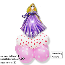 (11pcs/lot)princess birthday balloons Rapunzel foil balloon 12inch dot latex ballons for girl toys party decoration air balloons(China)