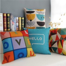 Nordic   Color letters Geometric LOVE YOU cotton cushion  Linen pillow  pillow cushion home Decor sofa cushions