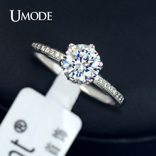 UMODE Crown Design Romantic Round Zirconia Shiny CZ Stones Wedding Finger Rings Vintage Engagement Ring For Women Bague JR0121B