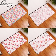 Homing New Arrive in Front of Entrance Door Mats Dense Pink Flamingo Printing Carpets Anti Slip Water Proof Kitchen Bedroom Rugs(China)