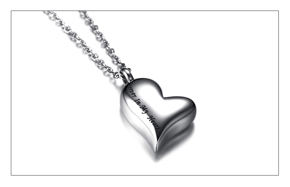 Meaeguet Stainless Steel Heart Urn Pendant Cremation Ashes Necklace For Women Memorial Personalized Keepsake Jewelry (4)