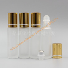 10ml clear frosted Glass Bottle With stainless/glass roller+gold aluminum lid,roll-on bottle,perfume bottle,deodorant bottle