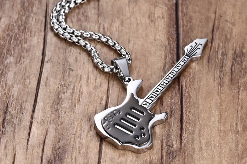 Cool Men _ Boys Black Electric Guitar Pendant Necklace Stainless Steel Mens Jewelry For Clothing Accessories 16
