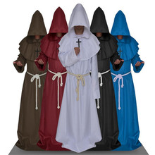 Halloween comic party Cosplay dress monk hooded robe cloak angle Mary medieval Renaissance monk men's clothing(China)