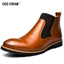 COSIDRAM Fashion Split Leather Men Boots Plush Warm Ankle Motorcycle Boots With Fur 2018 High Top Winter Shoes For Male RME-319(China)