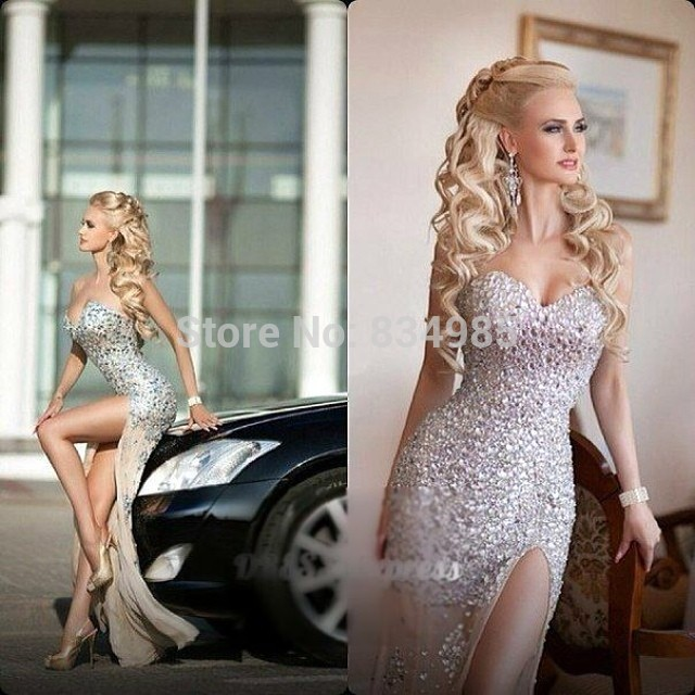 New FashionChampagne Sweetheart Sparkle Crystal Rhinestone Long Split Ball Evening Dresses Evening Gowns Chiffon Custom size