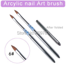 2pcs/Lot- 6#  Kolinsky Sable Brush Acrylic Nail Art Builder Brush Design for acrylic nail brushes