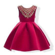 New Big Bow Girls Dresses Wedding Birthday Party Formal Christening  Princess Gold Line Ball Gown Kids 74b16f7ac182