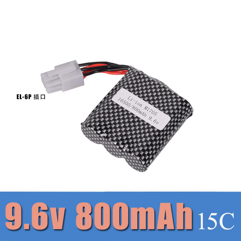 9.6V 800mAh EL-6P big foot off-road high speed vehicle charging lithium battery group 9115 S912 remote control vehicle<br>