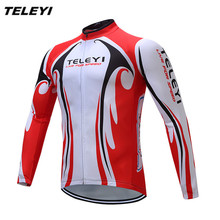 2017 TELEYI Red White Bike Long jersey Men Cycling clothing Spring Autumn Male MTB Ropa Ciclismo Wear Maillot Long Sleeve Shirts