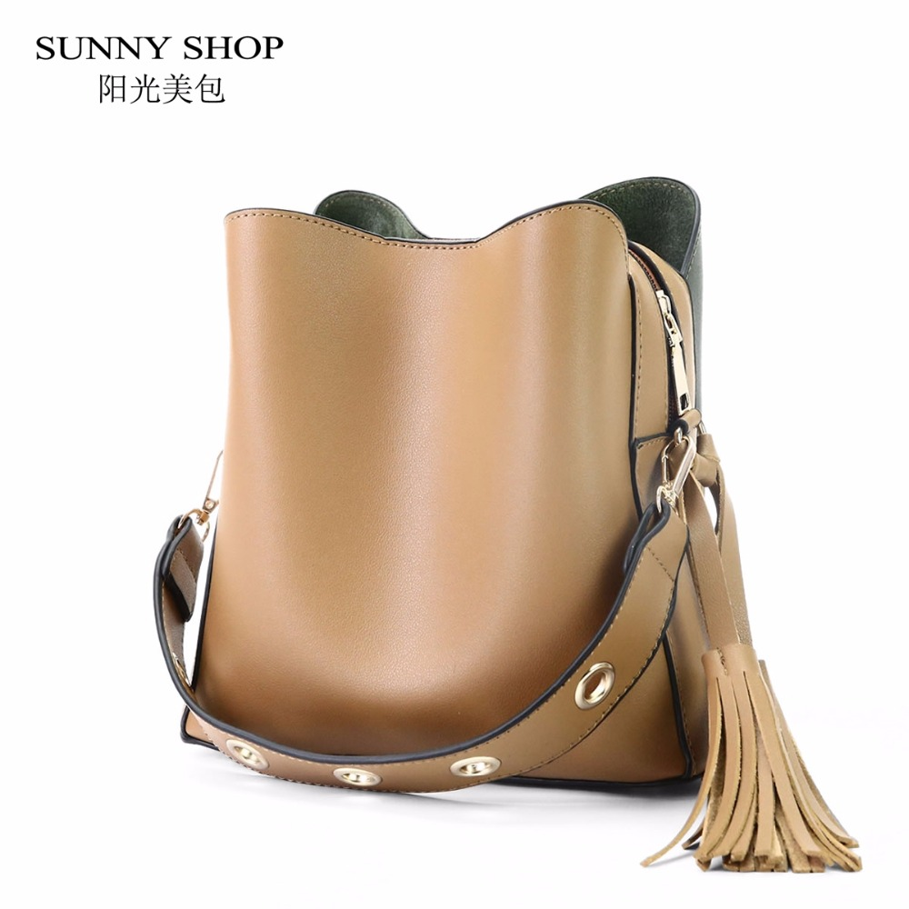 SUNNY SHOP Women Bag Small Tassel Bag Women Messenger Shoulder Bag Woman Pu Leather Bucket Reviet Hobos crossbody bag Spring<br>