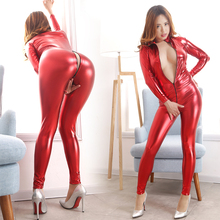 Buy Sexy Jumpsuit Women Vinyl Catsuit Women Faux Leather Black Gold Rose red Silver Bodysuit Open Crotch PU Latex Leotard