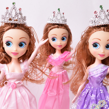 Hot 1Pc Children Girls Beautiful Handmade Plastic Toys Party Princess Dolls Dress Doll Best Christmas Games Gifts 2017(China)