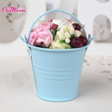 12pcs/lot Mini Metal Bucket Tin Candy Box Buckets for Wedding Party Souvenirs Gift Pails Event & Party Supplie Blue/Purple/Gray