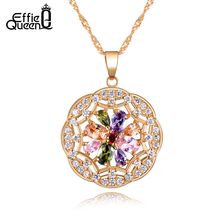 Effie Queen New Arrival Women Vintage Beautiful Flower Necklace Jewelry Colorful Zircon Crystal Pendant Necklaces DDN04