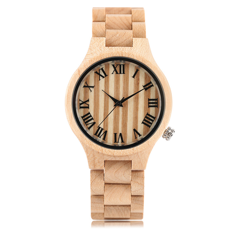 Luxury Hand-made Ladies Wooden Watches Quartz Roman Numerals Bracelet Clasp Wood Watchbands Natural Fashion Watch Gift for Women<br>