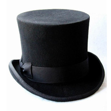 17cm(6.67inch) Black 100% Wool Women Men Top Hat Chapeau Fedora Hat Felt Vintage Trational Party Church Hats DIY Steampunk Hat(China)