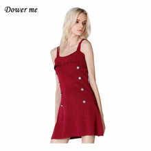 Fashion Wine Red Women Dress Vestidos Sexy Spaghetti Strap Ladies Party Dresses Elegant Square Collar Frocks YN2390(China)