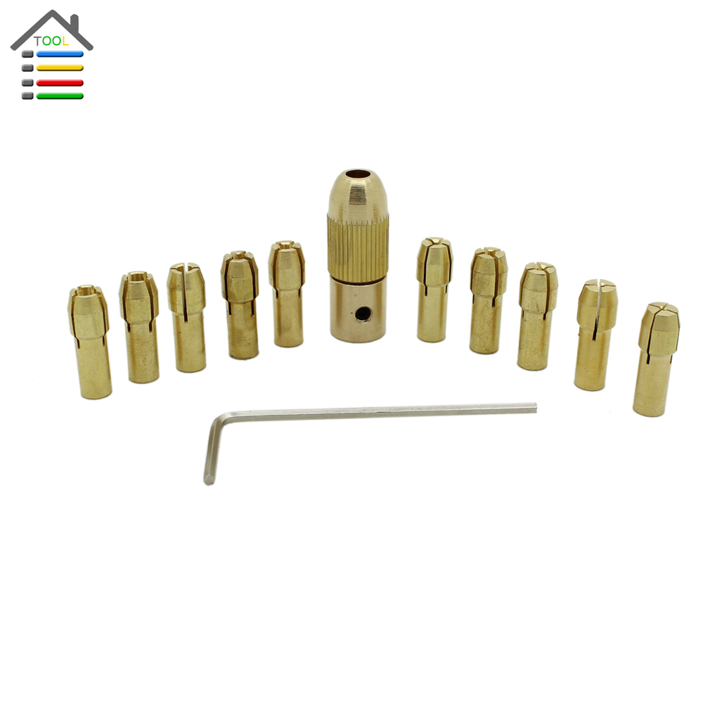 12pc/Set Micro Brass Collet Replaceable for Twist Drill Chuck Set Dremel Rotary Tools 0.5-3mm fit 3.17mm Motor Shaft<br><br>Aliexpress