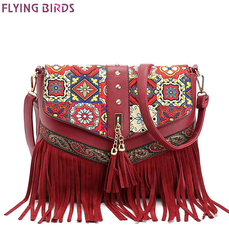 FLYING BIRDS women messenger bags tassel bag National shoulder bag leather handbag bolsas women crossbody bags purse LM3931fb<br><br>Aliexpress