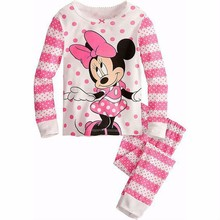 2015 Kids Pajama Sets girls clothes Minnie kitty set girls t shirt pants winter children hoodies children suit baby girl clothes