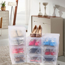 10pcs Transparent Clear Strong Plastic Shoe Boot Boxes Stackable Foldable Storage Box Organizer High Heel Flat Shoes Holder Case