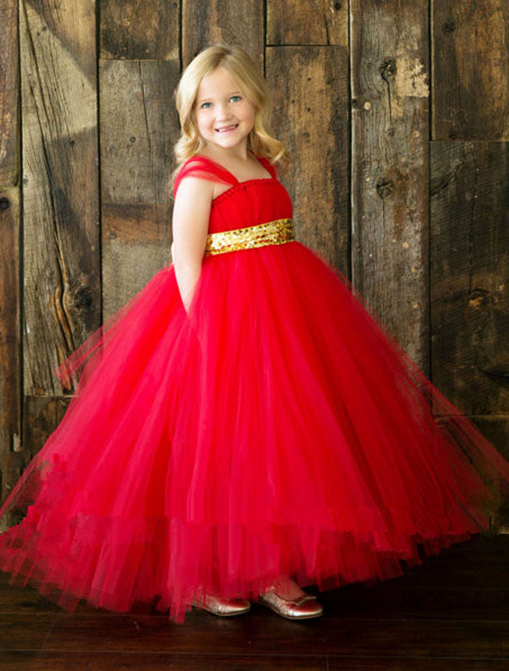 New red golden sash tutu baby bridesmaid flower girl wedding dress tulle fluffy ball gown birthday evening prom cloth party kids<br>