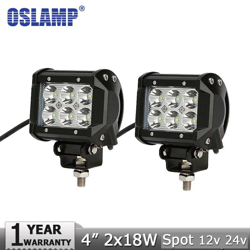 Oslamp 2pcs 18W 4 CREE Chips LED Light Bar Offroad Spot Flood Beam Led Work Lights Driving Lamp for 12v 24v 4x4 Truck 4WD ATV<br><br>Aliexpress