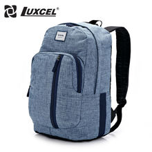 Luxcel School Youth Trendy schoolbag Jean material 2016 new casual backpack for men rucksack bag