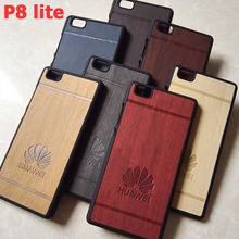 luxury hard wood plastic black  phone cases cover coque case for huawei p8 lite p8lite p 8 lite hawei huwawei huawey accessories