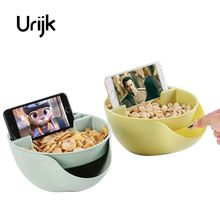 Urijk New Creative Melon Seeds Nut Bowl Table Candy Snacks Dry Fruit Holder Storage Box Plate Dish Tray With Mobile Phone Stents(China)
