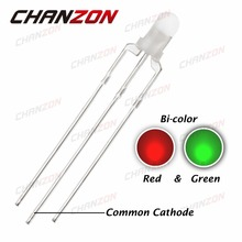 CHANZON 100pcs LED 3mm Diffused Common Cathode Green And Red 3 Pin Round 3 mm Bi-Color LED Through Hole Light-Emitting Diode