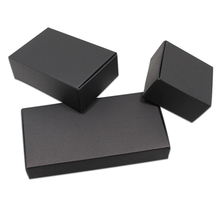 80pcs/ Lot Multi Sizes Black Paperboard Party Gifts Package Box For Crafts Jewelry Boutiques Packing Paper Wedding Favor Boxes(China)