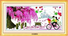 Embroidery Package Free Shipping Cross Stitch Best Quality---Luxurious Pink Tree Love Angle Cabin Bike(China)