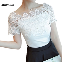 Women Lace Patchwork Blouse Shirt Casual Off Shoulder Top Sexy Short Sleeve White Blouse Ladies Summer Hollow Elegant Blouses(China)