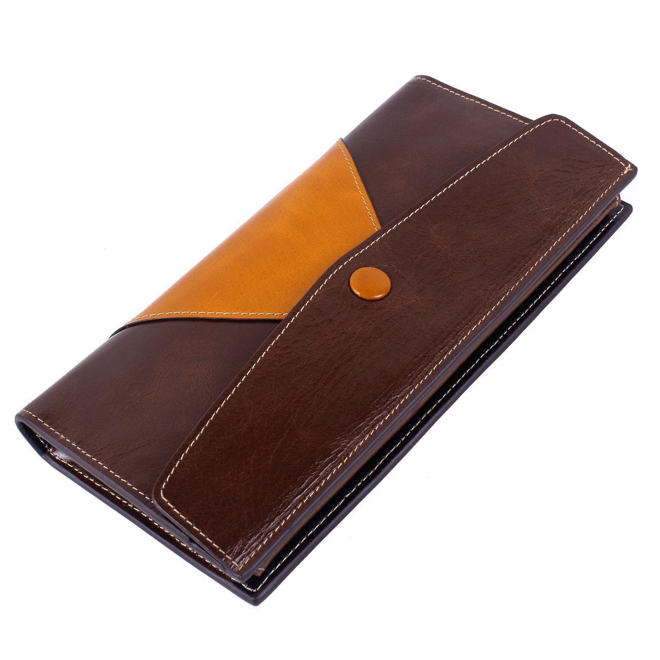 Genuine Leather Women wallet Panelled cow leather wallet women long pattern female purse Fashion lady brand wallet card holders<br>