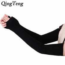 40cm 50cm 60cm Winter arm Female gloves Fingerless cashmere wool warm thin long women gloves guantes mujer(China)