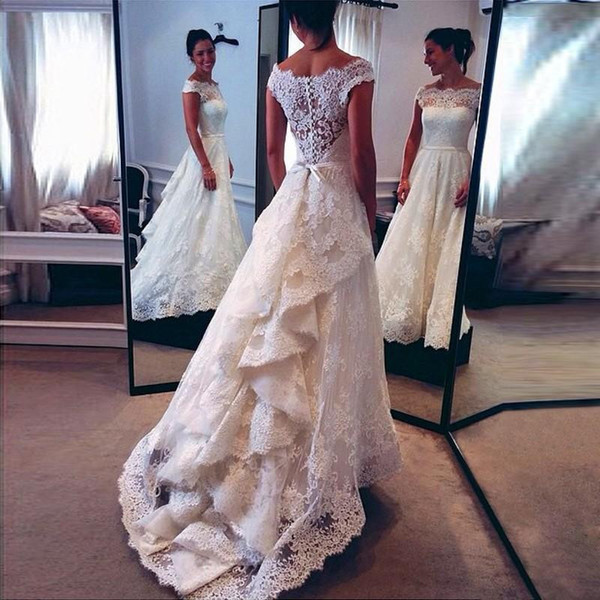 Lace Wedding Dresses 2019 A-Line Bridal Bride Gown Cap Sleeve Appliques Ruched Back vestido de novia abiti da sposa Puffy mariee
