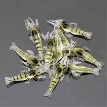CAMTOA 10pcs/lot 50mm Soft Silicone Simulation Prawn Shrimp Fishing Floating Shaped Lure Hook Bait Tackle Fishing accessories