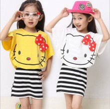 2016 summer girls' cotton  Bat shirt+casual striped  hello kitty dress set 2 pics children sets for girls outfits conjunto bebe