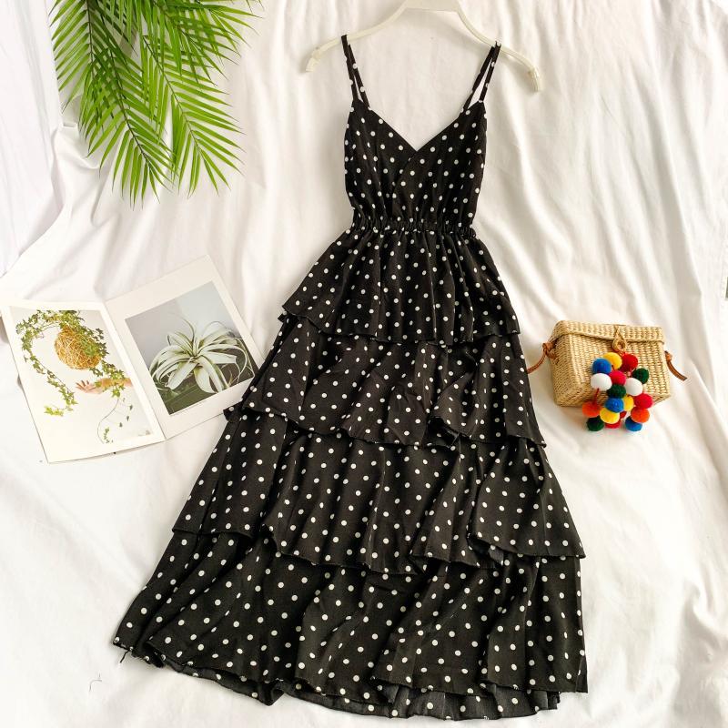 2019 summer dress female strap V collar layer ruffles printing chiffon ball bown dress women