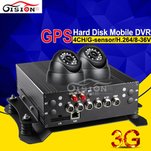 3G Mobile Dvr GPS Car Dvr 4CH Full D1 HD Real Time Surveillance Truck Dvr Kits With 2Pcs Camera Night Vision Monitoring System(China)