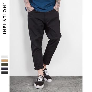 L'INFLATION Hommes Cheville Pantacourt Capri Longueur Pantalon Plaine Casual Pantalon Hommes Pantalon