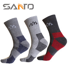 Santo S004 Men thick winter thermal 3d sport hiking Socks,Seamless striped cotton supreme dress socks,hunter boot socks(China)