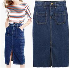 Womens Skirt Jeans Slim Fit Ladies Rokjes Elegant Solid Denim Skirts with Double Pocket Split Saias Vintage Button Bottoms