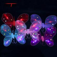 NEW Girls LED Flashing Light Fairy Butterfly Wing Wand Headband Kids Costume Toy Gift Hair Accessories COCOTINA DTS1766(China)