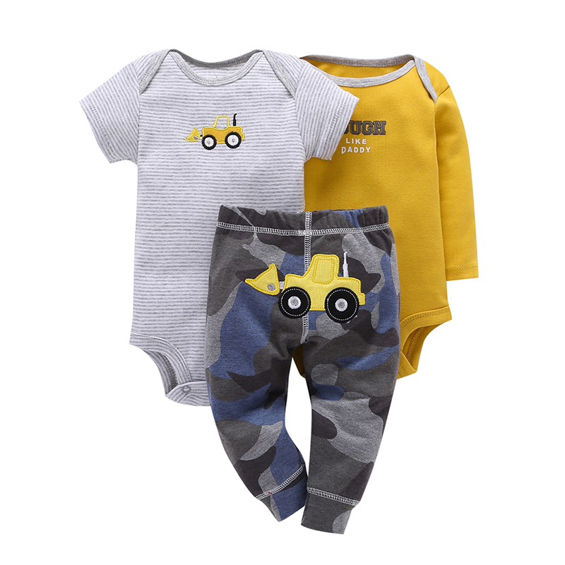 INFANT BABY BOY CLOTHES,cotton long sleeve rompers STRIPE+truck pant,3PCS clothing set for 0-2Y toddler baby,newborn pajamas set