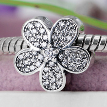 Buy Authentic 925 Sterling Silver Bead Charm Cute Daisy Flower Full Crystal Beads Fit Pandora Women Bracelet Bangle DIY Jewelry for $6.10 in AliExpress store