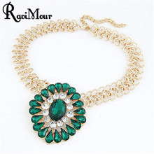 Fashion Baroque Imitated Gemstone Jewelry Statement Necklaces Pendants Gold Color Punk Chain Collier Necklace for Women Koyle